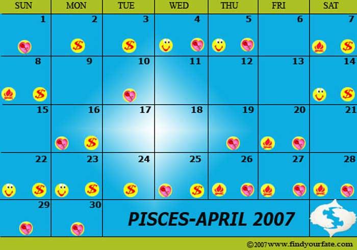 2007 Astrology Calendars For All Zodiac Signs - Pisces Inside Good Days Horoscope Calendar
