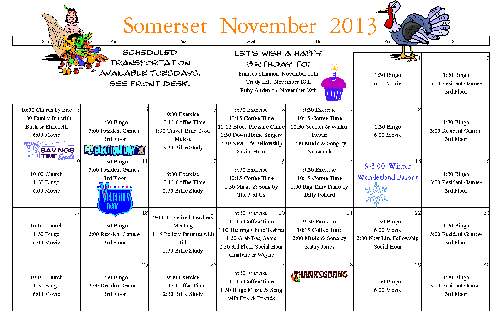 2013Novsomcal | Somerset Senior Living Longview Wa Within Assisted Living Activities Calendar Ideas