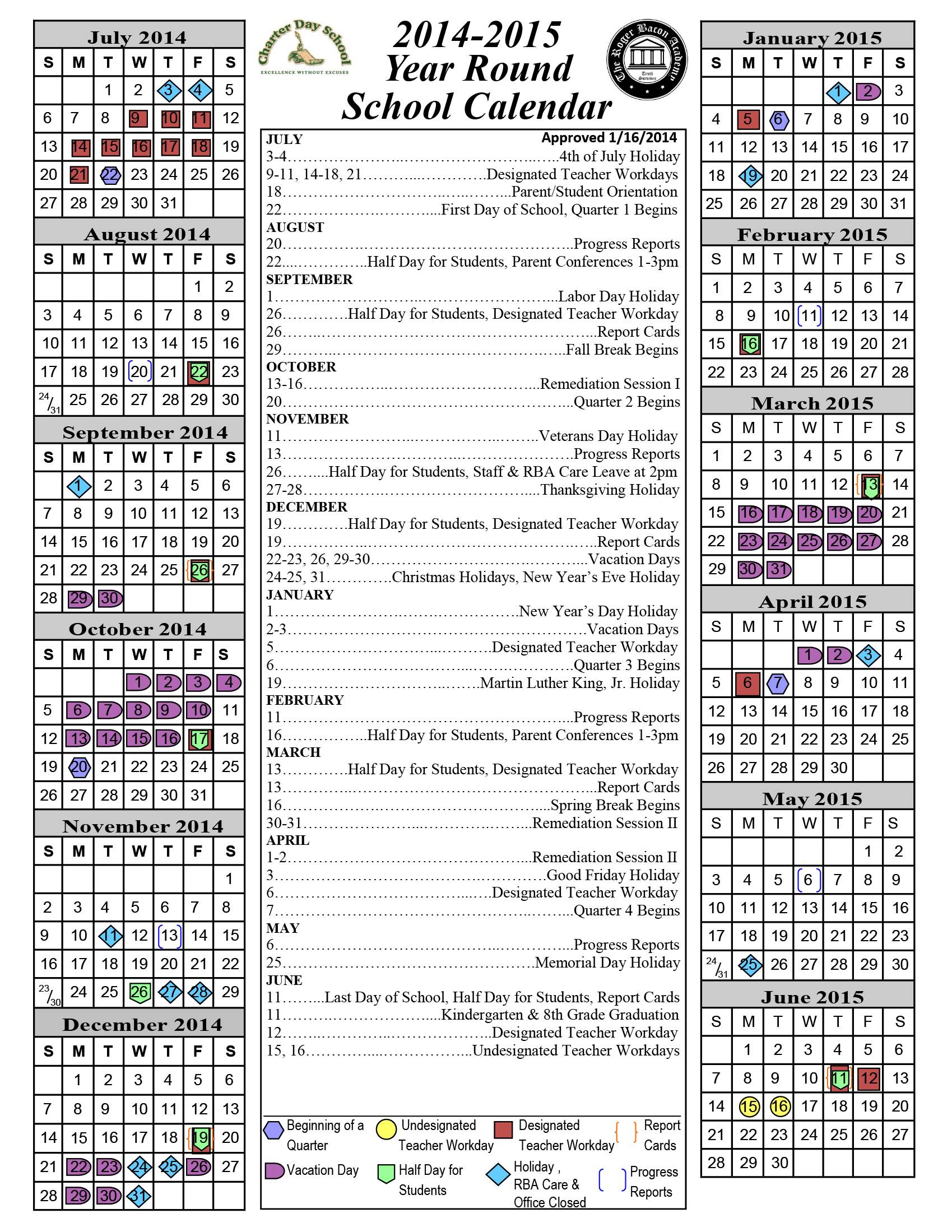 2014 2015 Academic Calendar « Charter Day School Throughout Gcu 2014 Academic Calendar