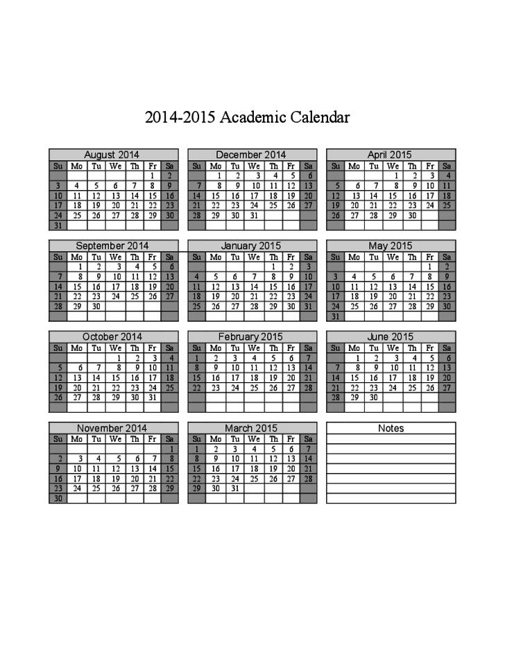 2014 2015 Academic Calendar Free Download For Gcu 2014 Academic Calendar