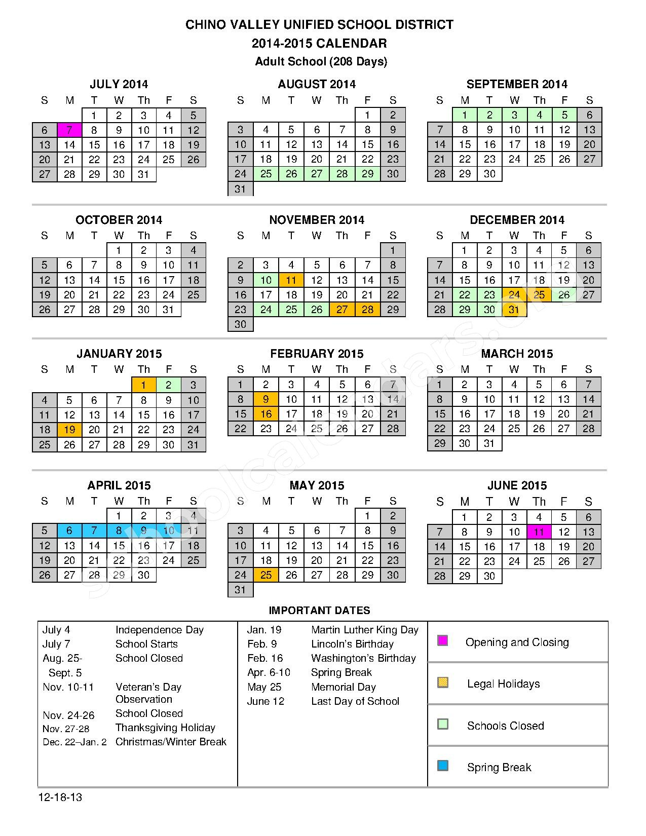 2014 – 2015 Adult School Calendar | Robert O. Townsend With Aiken High School Sc Calendar For 2015