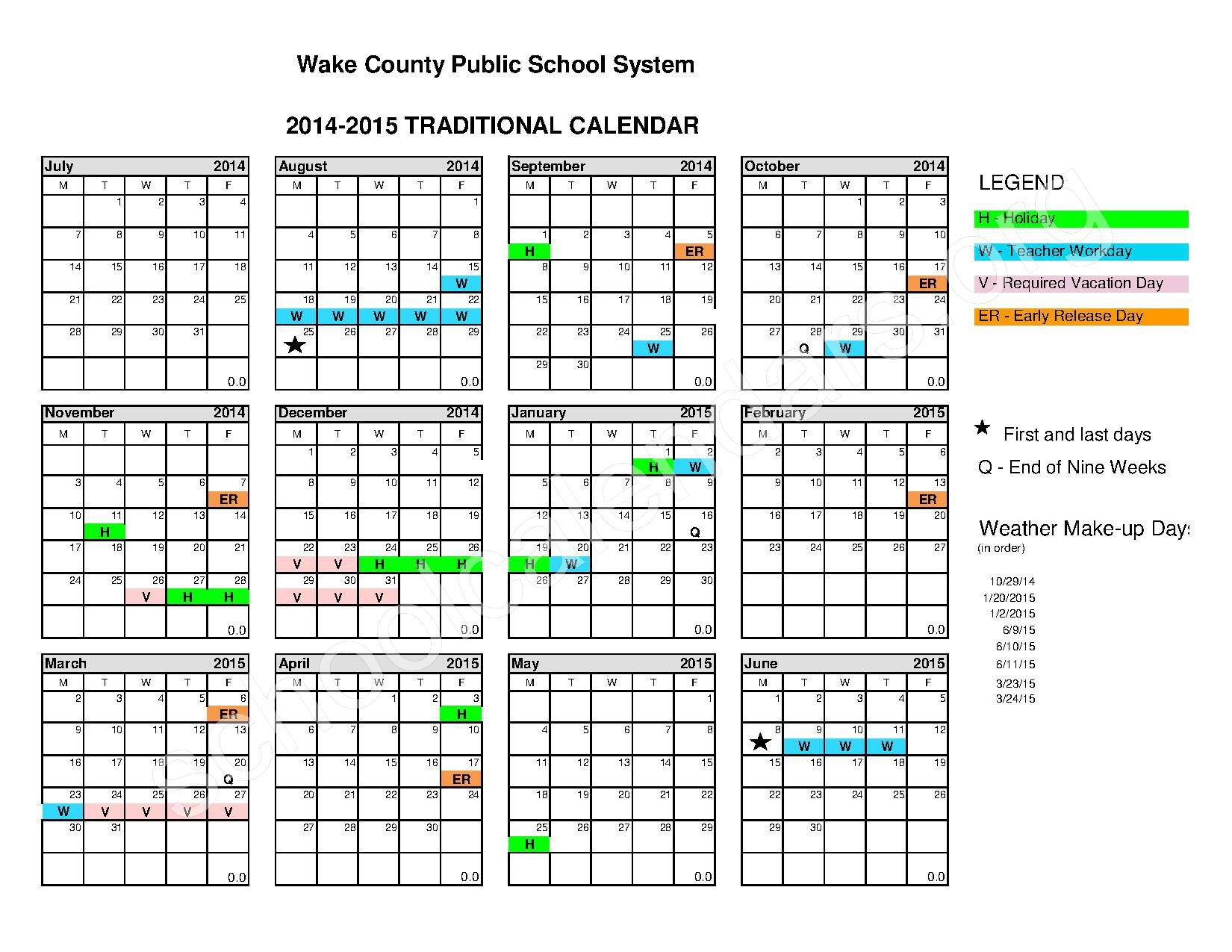 2014 – 2015 Traditional Calendar – Calendar Detail For Wake County School District Calenders