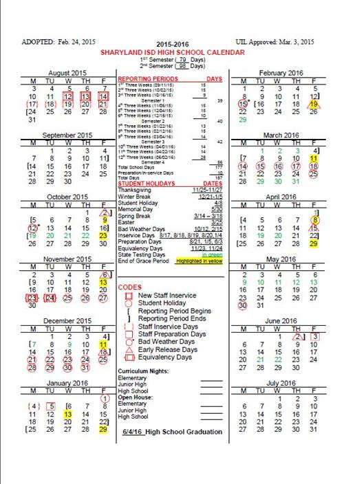 2015 16 Sharyland Isd High School Calendar – Sharyland Pertaining To Aiken High School Sc Calendar For 2015