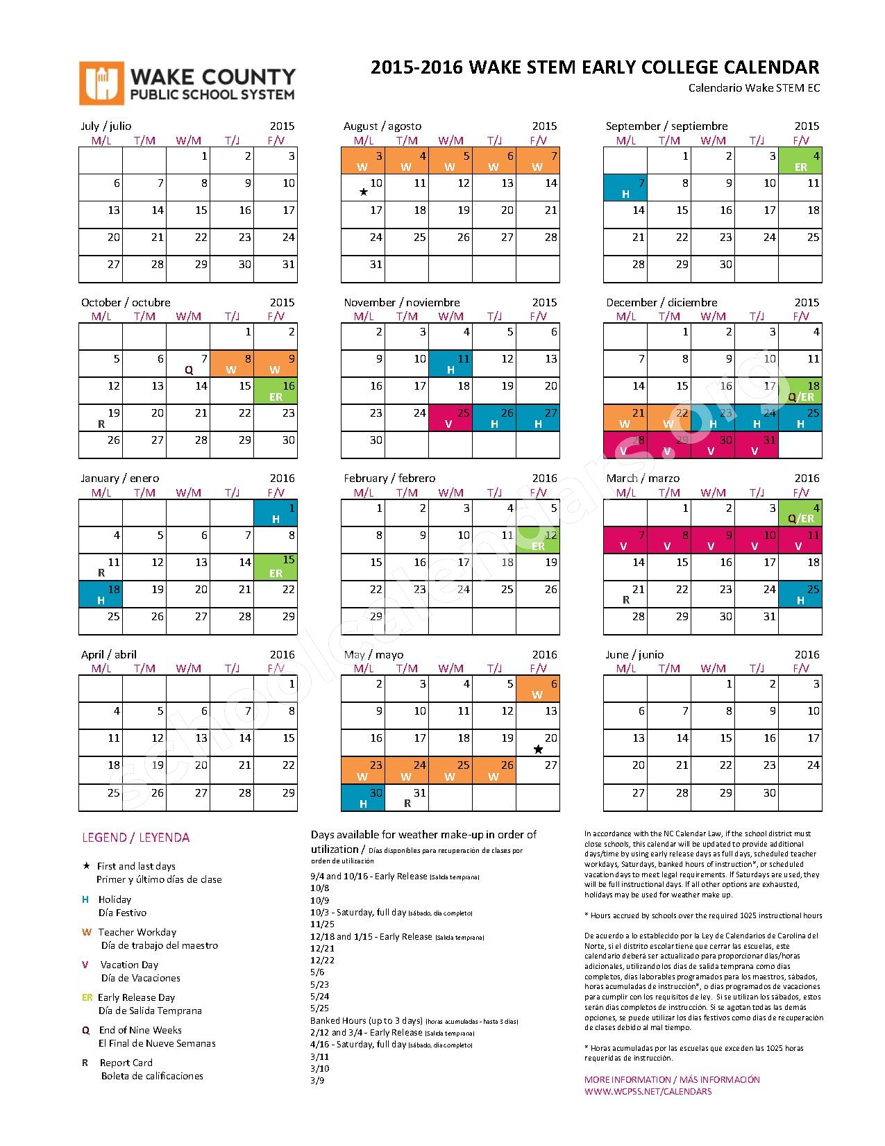 2015 - 2016 Early College (Stem) Calendar | Zebulon inside Wake County Nc Track Schedule Calendar