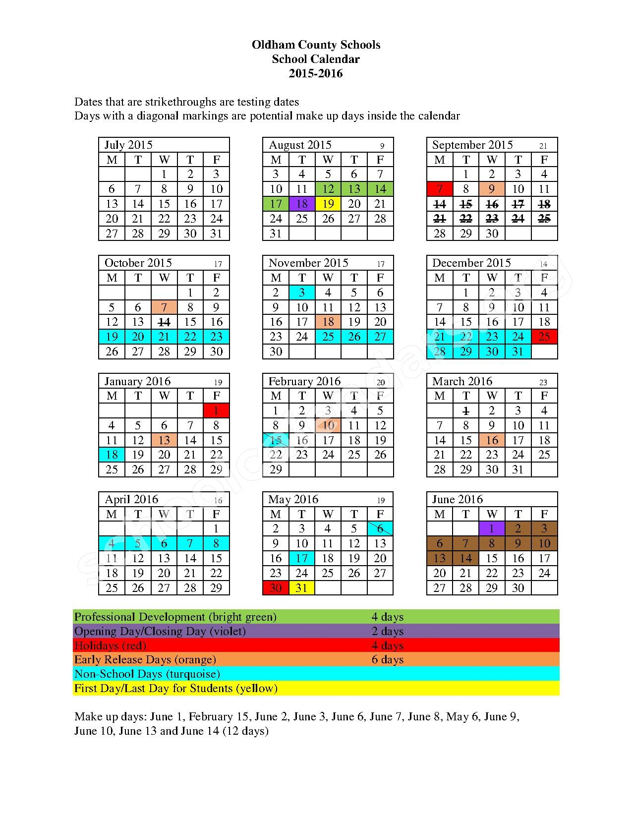 2015 – 2016 School Calendar | South Oldham High School With Aiken High School Sc Calendar For 2015