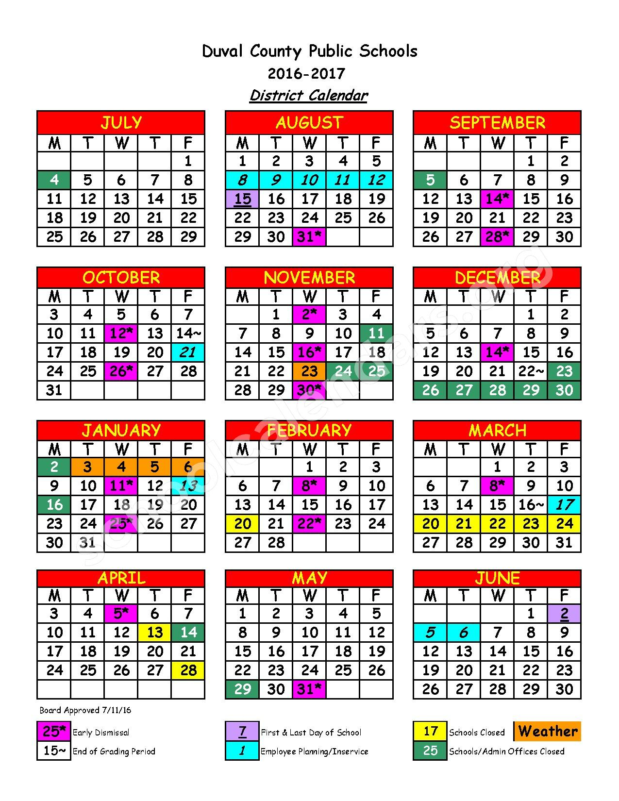2016 – 2017 District Calendar | Duval County Public Regarding Bay Co School Calendar 2021 2021