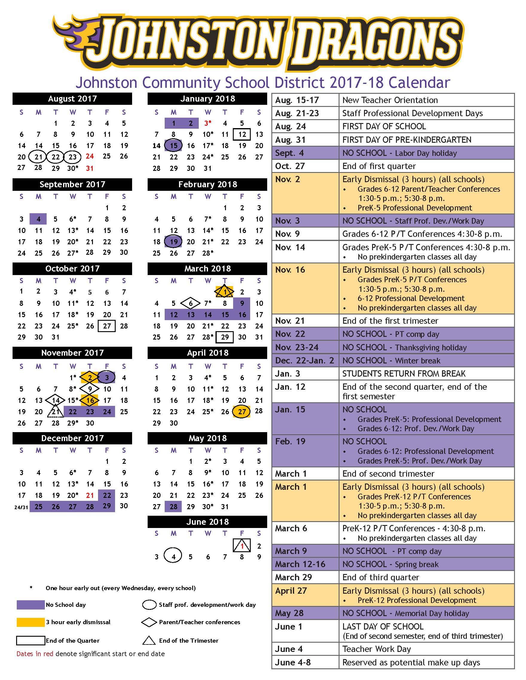 2017 18 Academic Calendar Approved – Johnston Community Regarding Academic Year University Of Rhode Calendar
