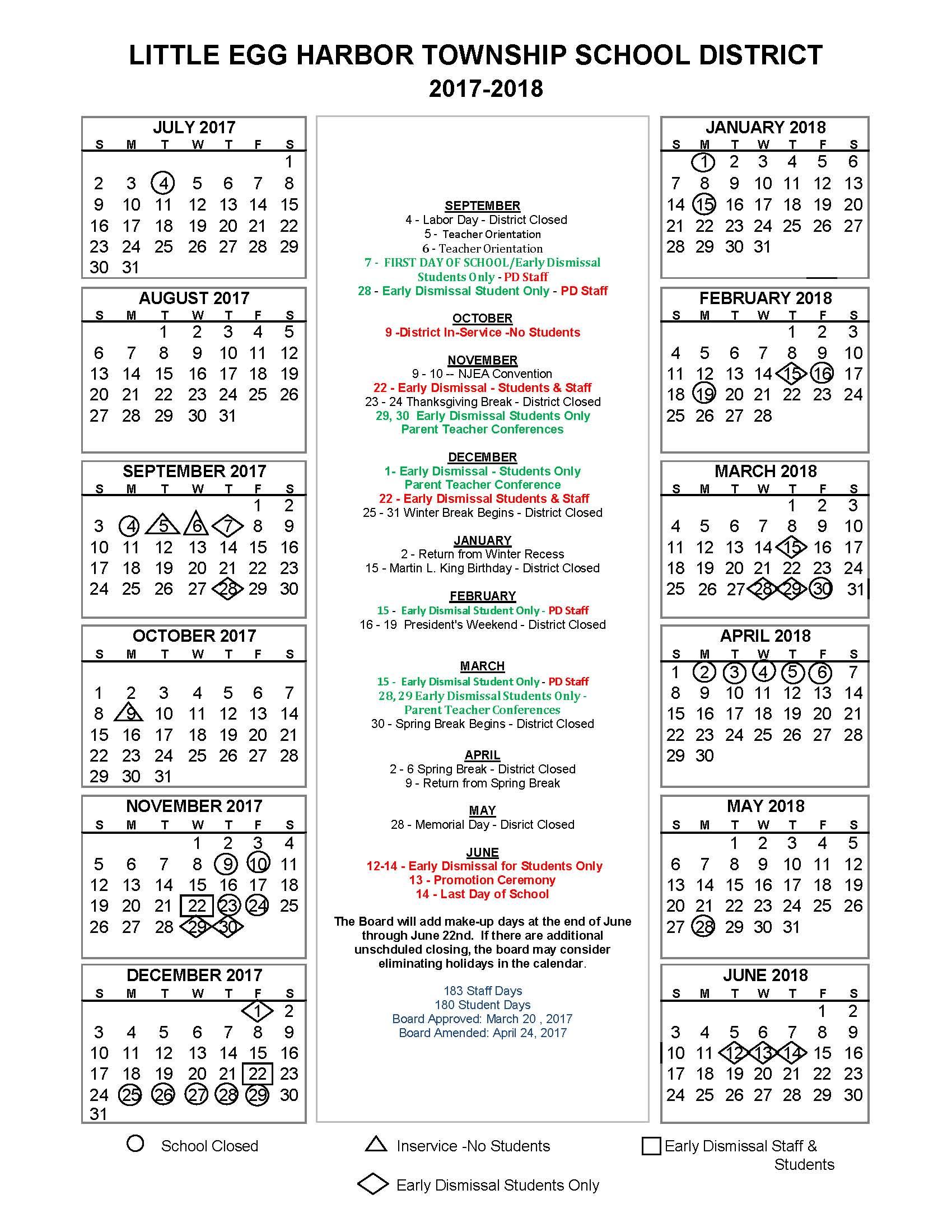 2017 2018 District Calendar - Little Egg Harbor School Regarding Jersey City Board Of Education Calendar
