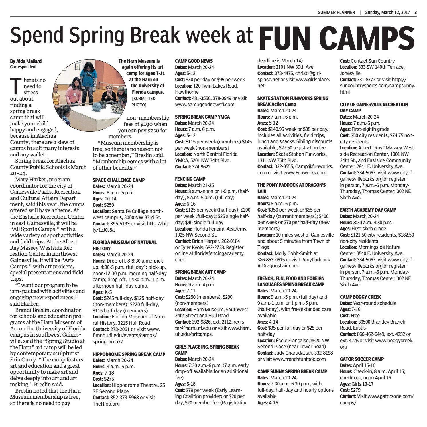 2017 Summer Planner – The Gainesville Sunocala In Alachua County Public School Spring Break