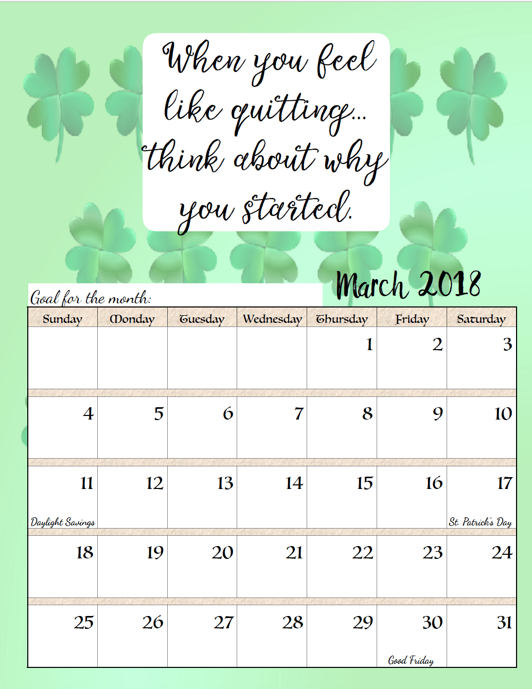 2018 Monthly Calendars With Inspirational, Motivational Inside April Calendar Quotes And Sayings