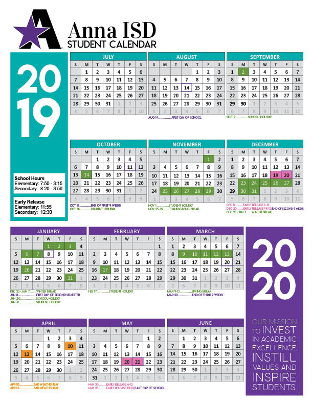 2019 2020 Academic Calendar Approved - Anna Independent Throughout Collin College Semester Calendar