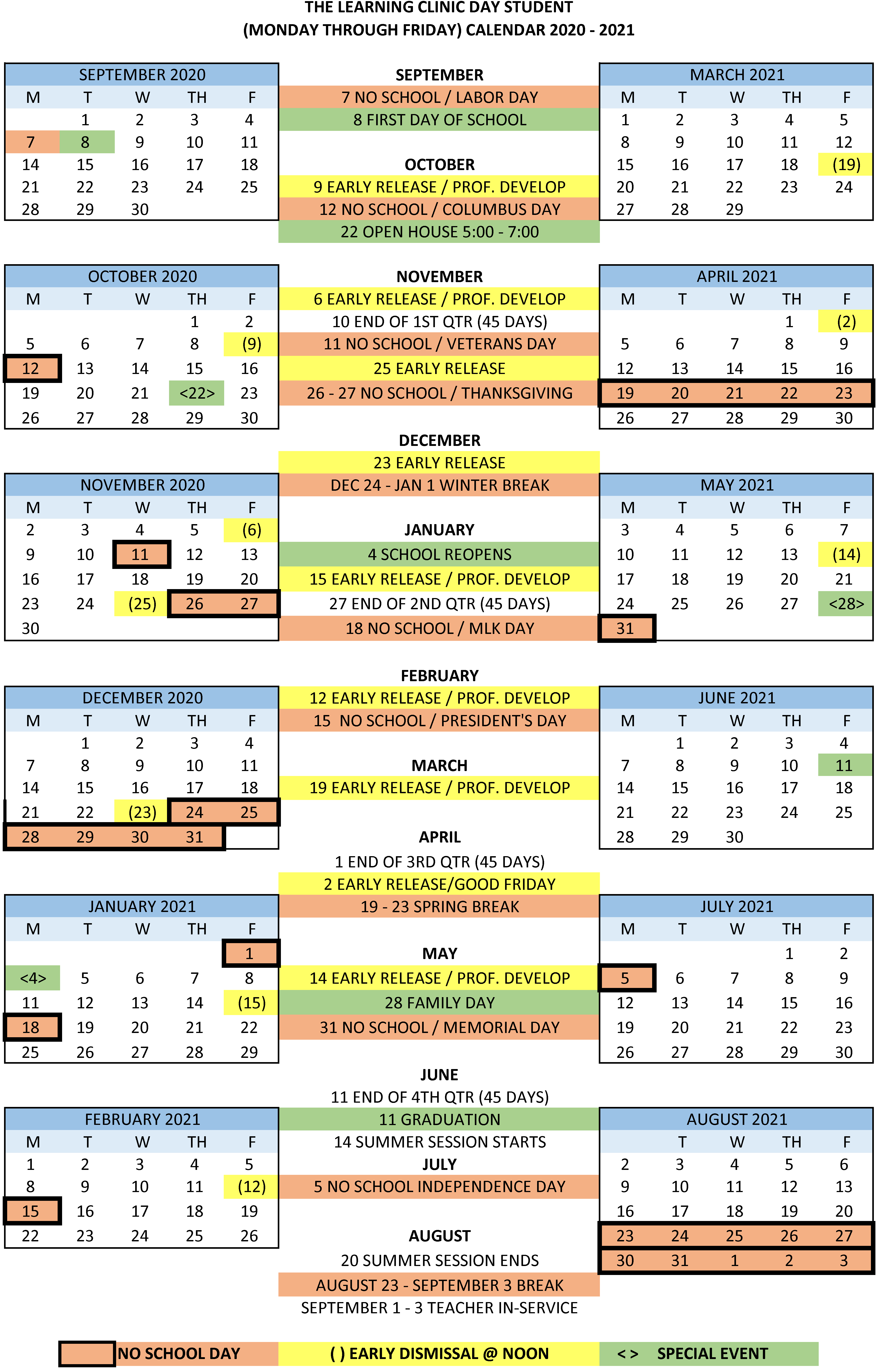 2020-2021 Day School Calendar | The Learning Clinic in Academic Calendar Chamberlain 2021