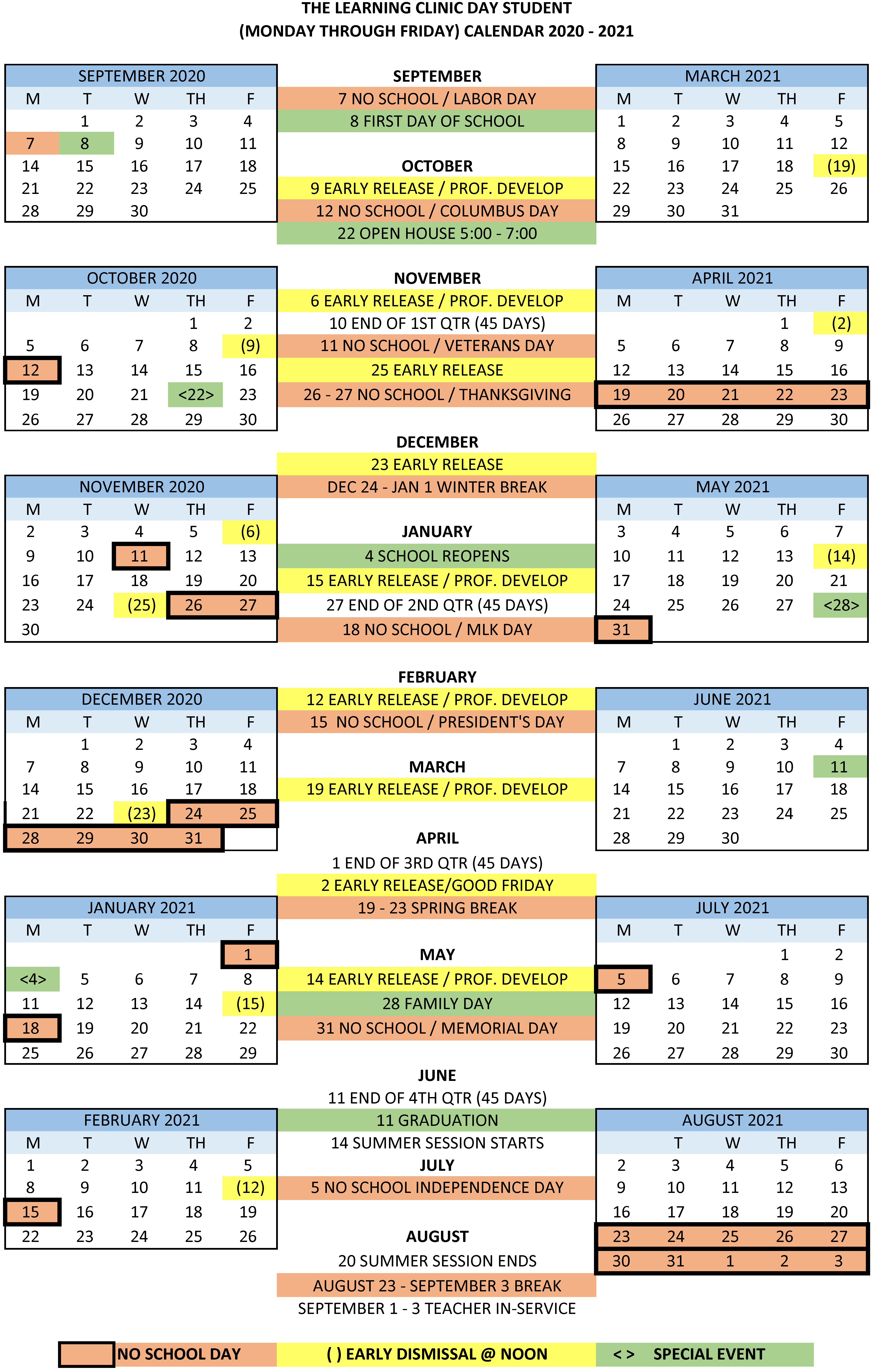 2020 2021 Day School Calendar | The Learning Clinic Intended For Jersey City Board Of Education Calendar