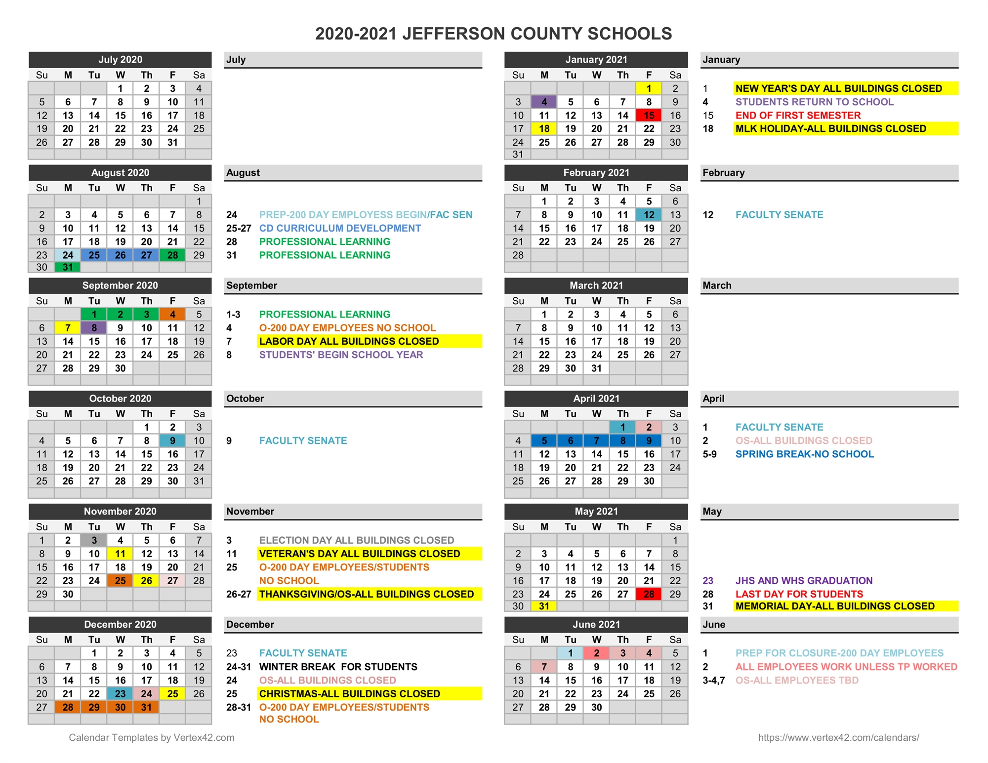 2020 2021 Family Calendar – Jefferson County Schools Pertaining To West Bloomfield School Calendar 2021  2020