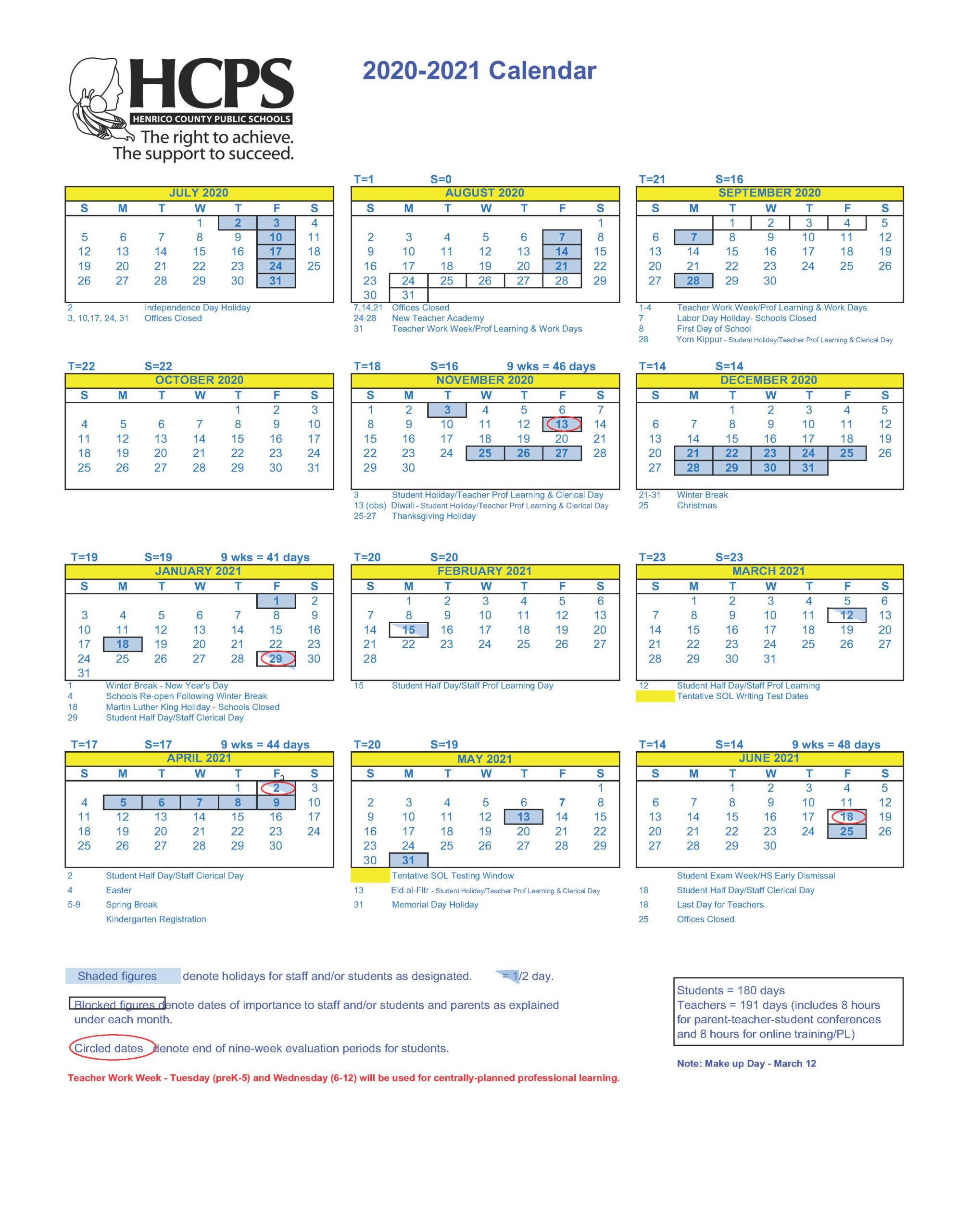 2020 2021 Henrico County Public Schools Calendar – Henrico With Regard To Las Cruces Public Schools Calendar 2021 2020