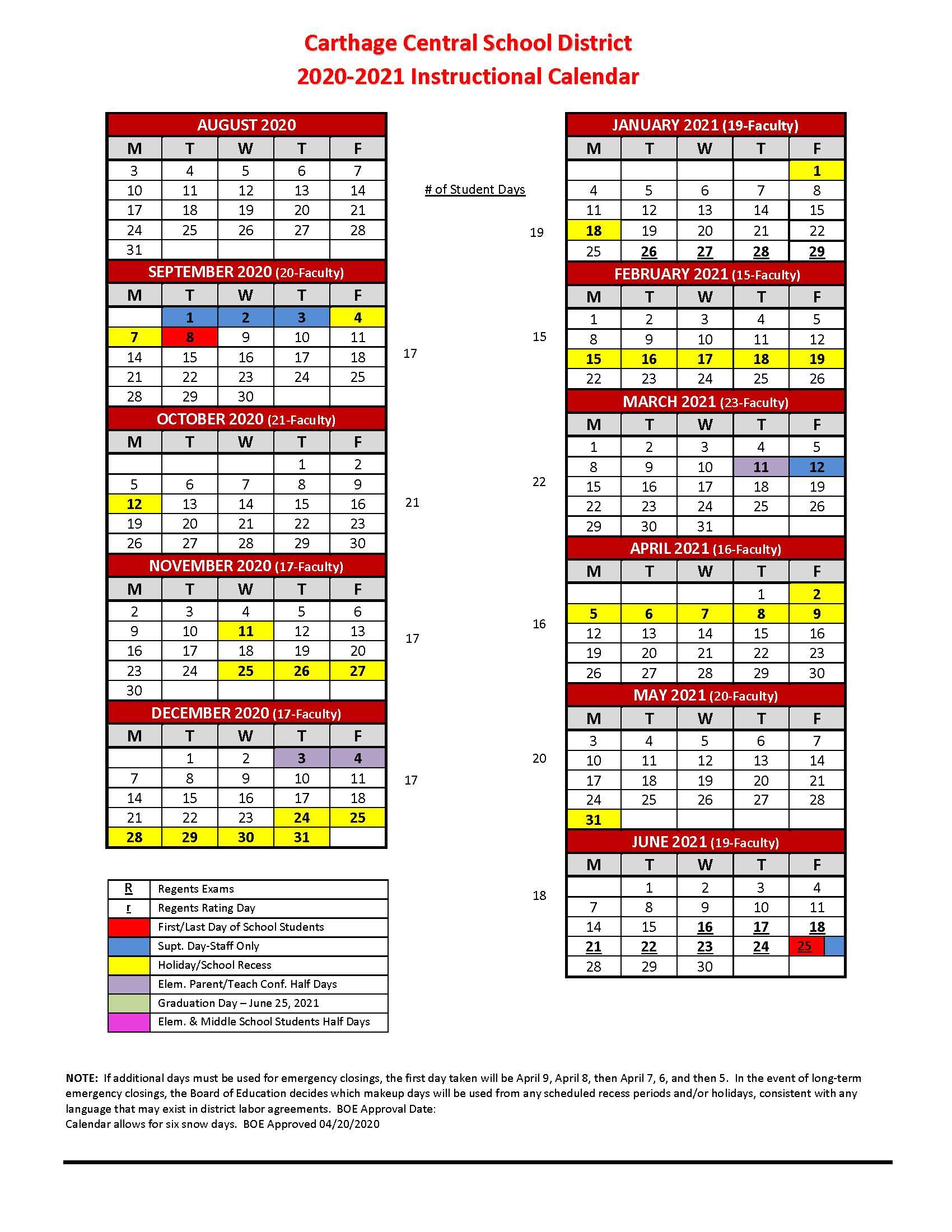 2020 2021 Instructional Calendar – Carthage Central School For Academic Calendar 2021 20 Chamberlain