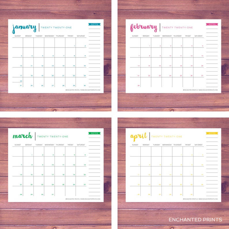 2020-2021 Printable Academic Calendar 16 Month Calendar | Etsy intended for Girne Amerikan University Academic Claendar 2021