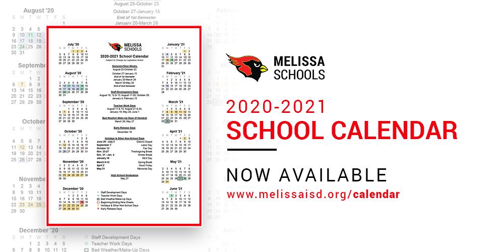 2020 2021 School Calendar Now Available | Melissaisd Throughout Gcu Academic Calendar Non Traditional 2020