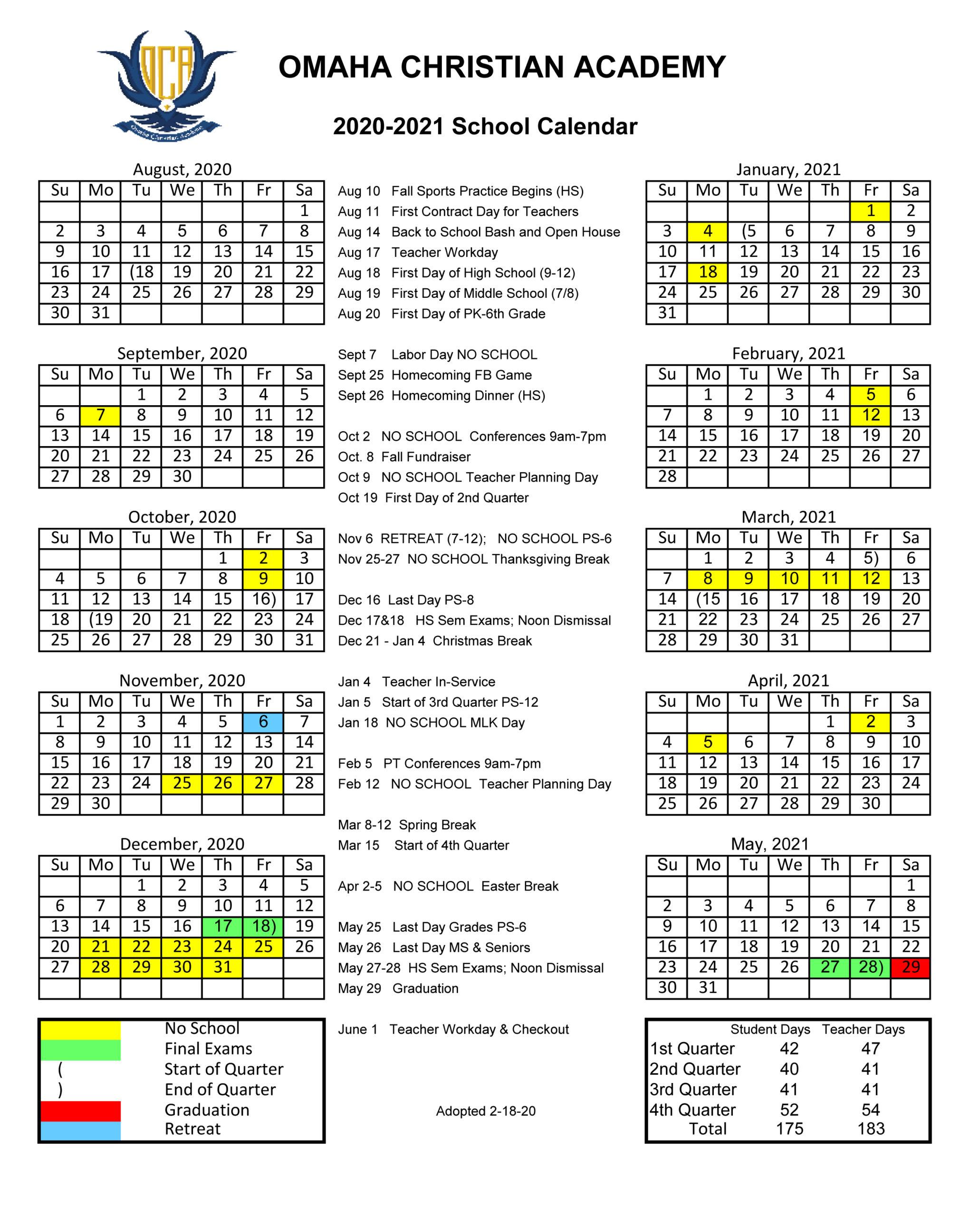 2020/2021 School Calendar - Omaha Christian Academy Within Las Cruces Public Schools Calendar 2021 2020