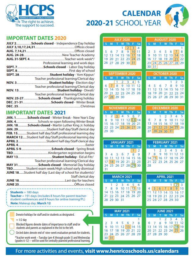 2020 21 Henrico County Public Schools Calendar – Henrico Regarding Shelby County Al Public School Calendar 2021 2021