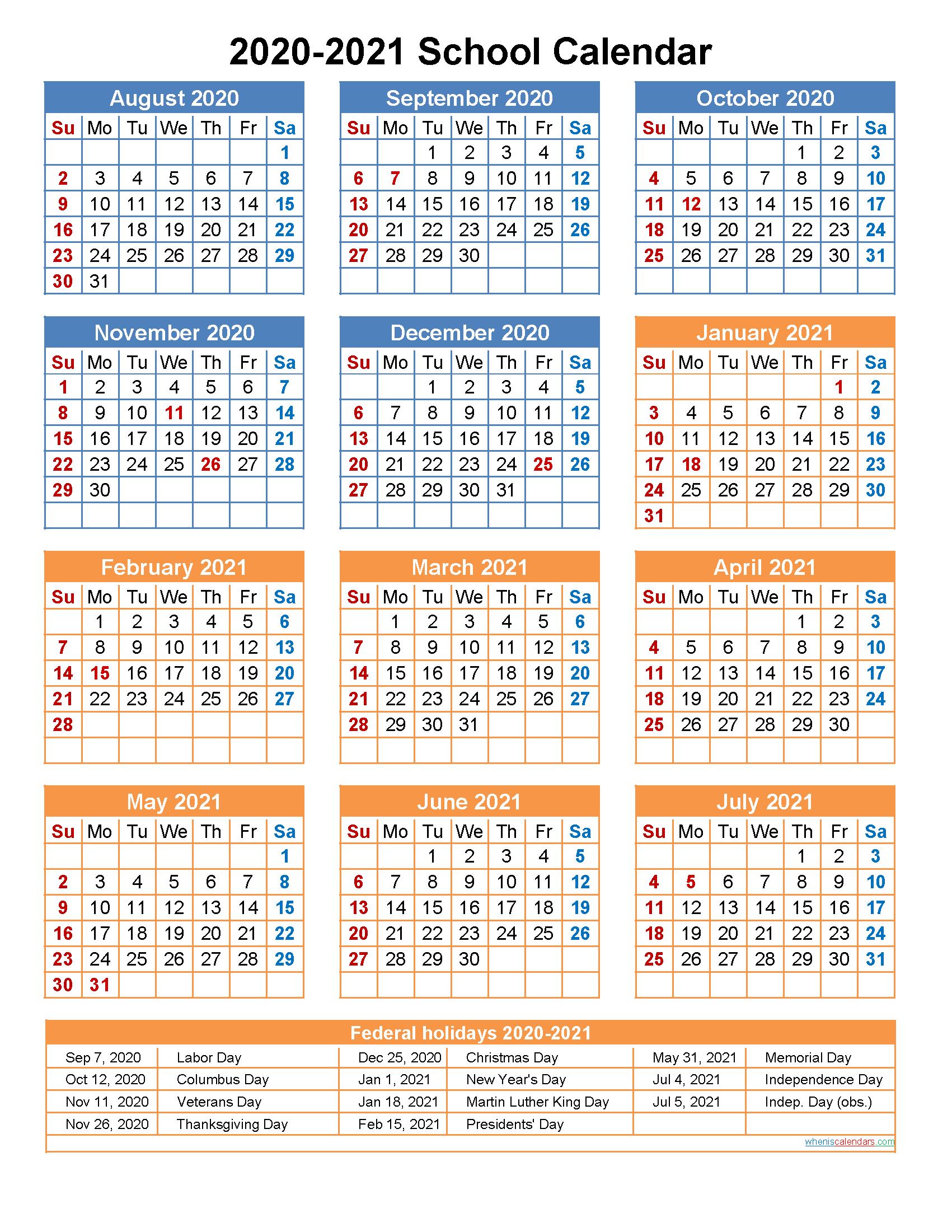 2020 And 2021 School Calendar Printable (Portrait With Academic Calendar Chamberlain 2021