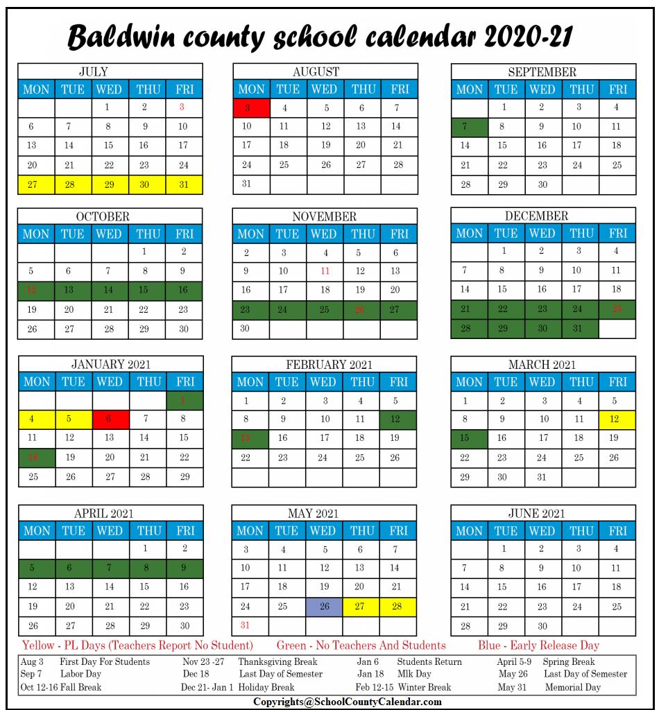 2020 Baldwin County Public School Calendar [Pdf] | County In Jersey City Public School Calendar 2021 2020