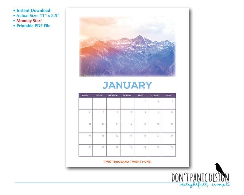 2021 Mountain Printable Wall Calendar Photo Sunsent Regarding Printable Sunrise Sunset Calendar 2021