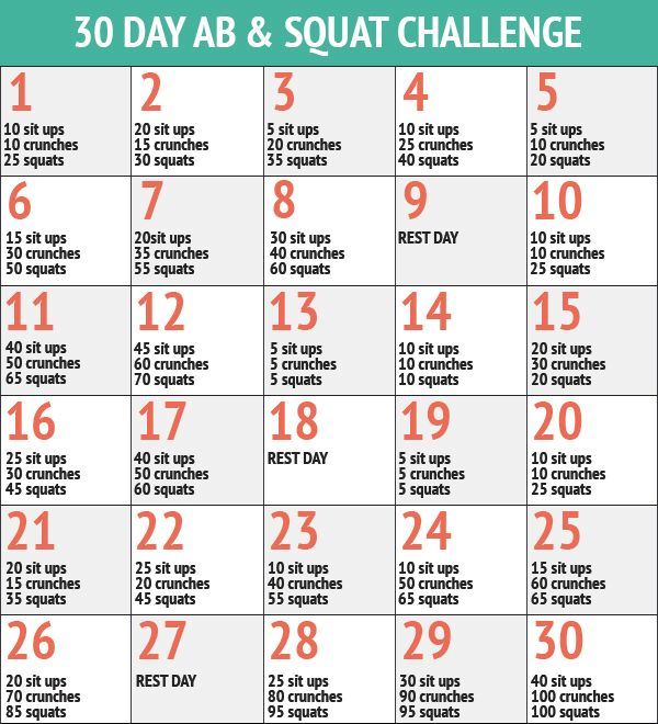 30 Day Ab & Squat Challenge - Inspiremyworkout - A In 30 Day Sit Up Challenge Printable Beginnerss