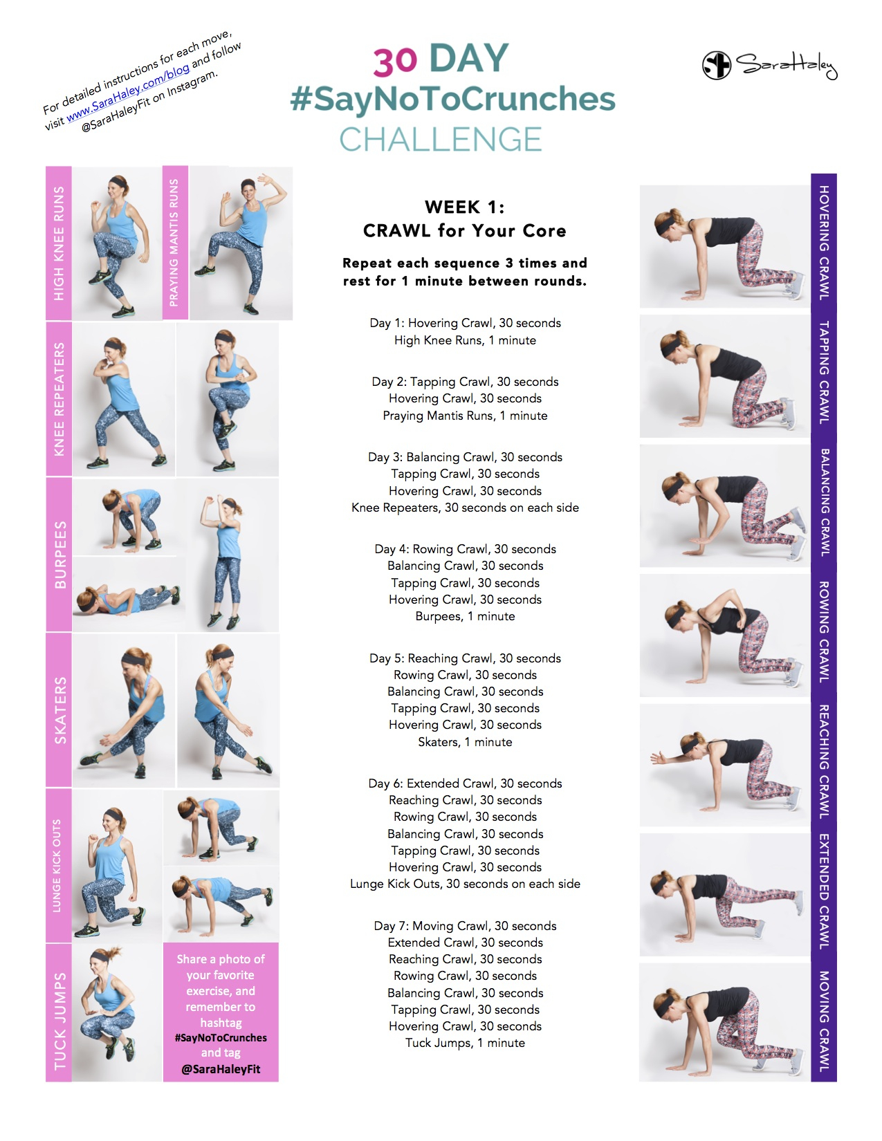 30 Day #Saynotocrunches Challenge – Week 1 – Sara Haley Within 30 Day Thigh Challenge Printable