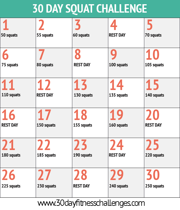 30 Day Squat Challenge | 30 Day Workout Challenge, 30 Day Pertaining To 30 Day Sit Up Challenge Printable