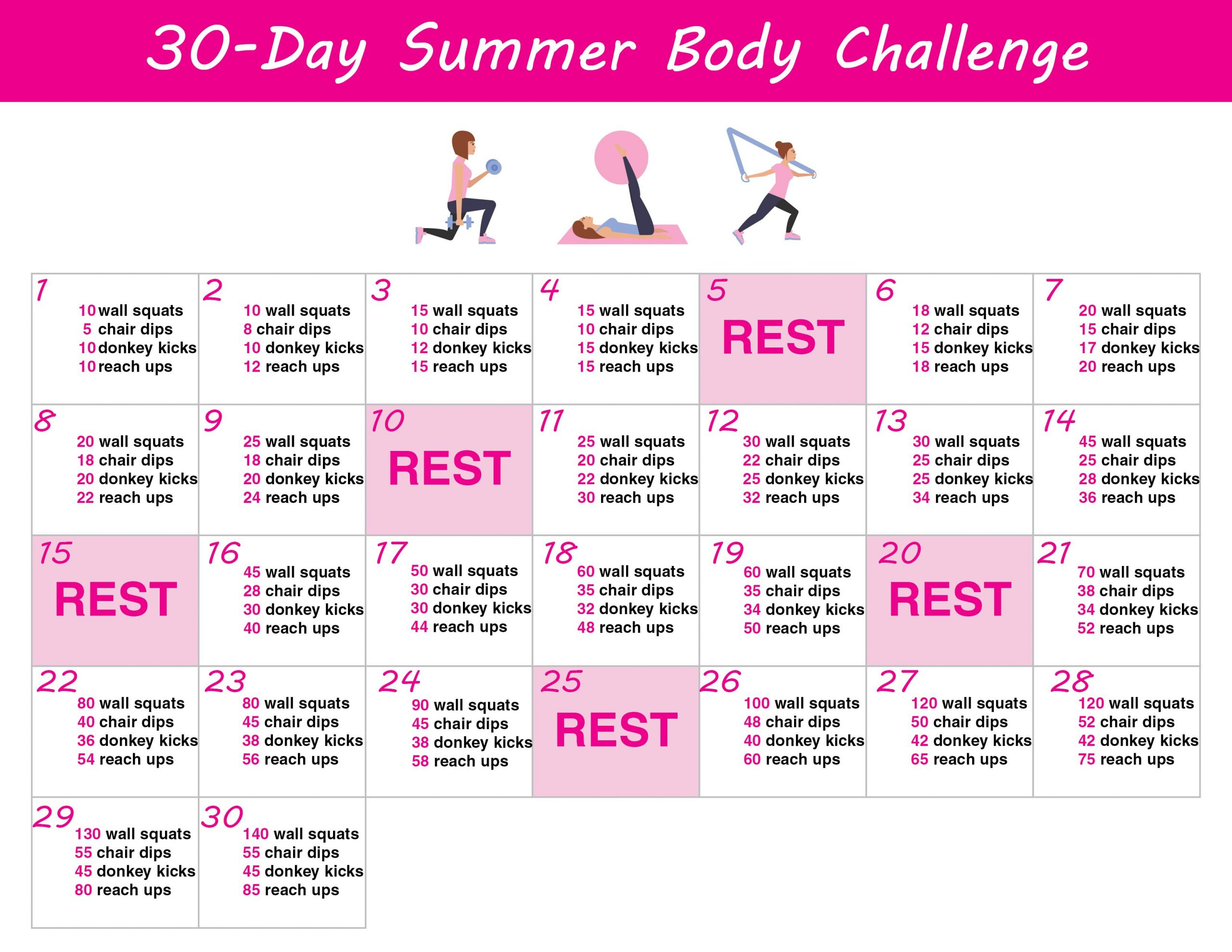 30 Day Summer Body Challenge + Free Printable Workout with regard to 30 Day Thigh Workout Free Printout