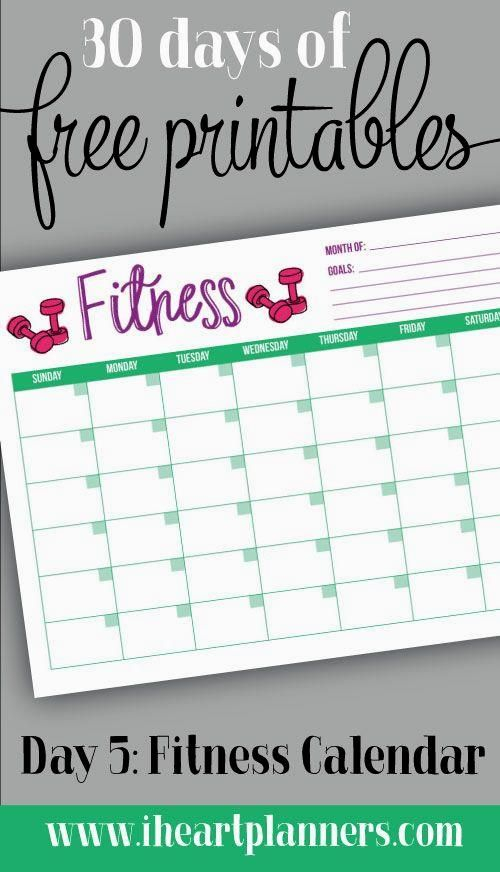 30 Days Of Free Prin 30 Days Of Free Printable: Monthly In 30 Day Fitness Calendar Printable