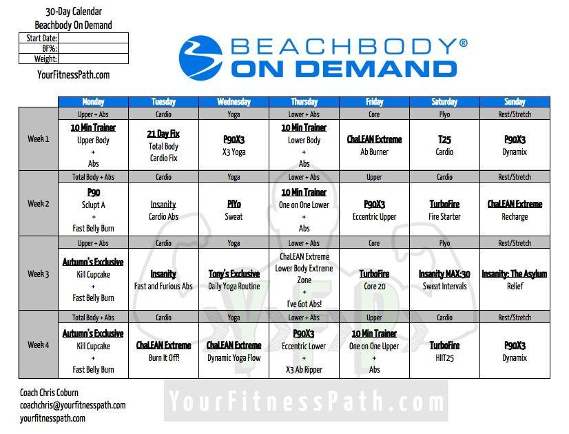 30 Days Of On Demand | Workout Calendar, Beachbody Inside Official Slim In 6 Pdf Workout Calendar