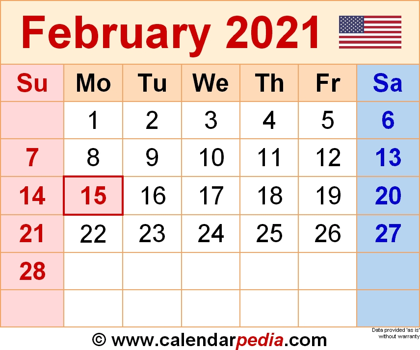 30 Free February 2021 Calendars For Home Or Office Intended For Excel 2021 Calendar Drop Down