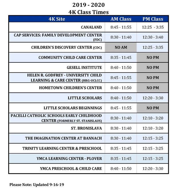 4K / 4K Class Times In Stevens Point School District Calendar 2021