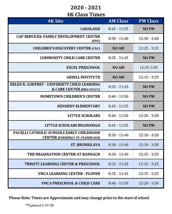 4K / 4K Class Times Within Stevens Point School District Calendar 2021