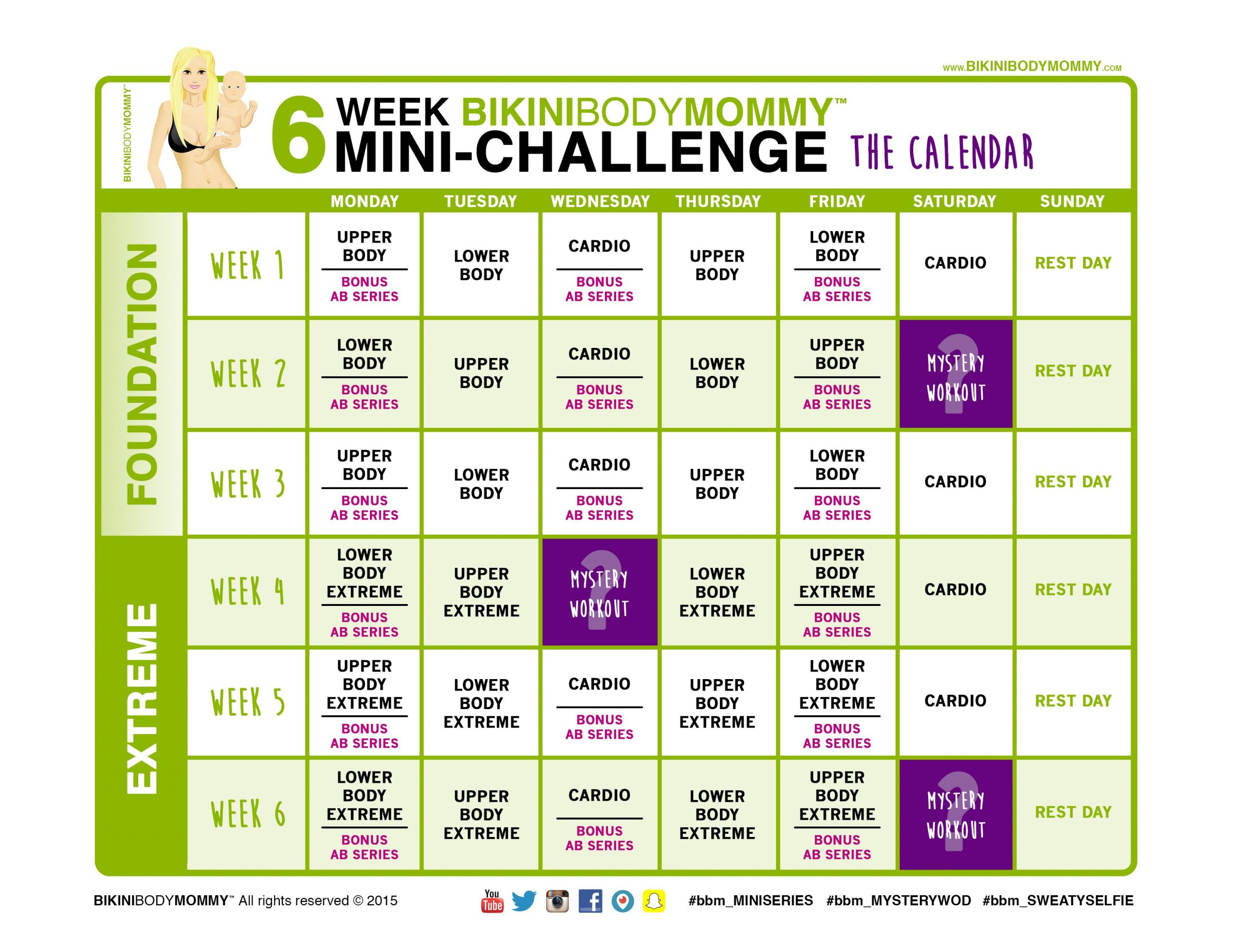6Weekchallenge Calendar Thumb | 30 Day Abs | Weekly With Official Slim In 6 Pdf Workout Calendar