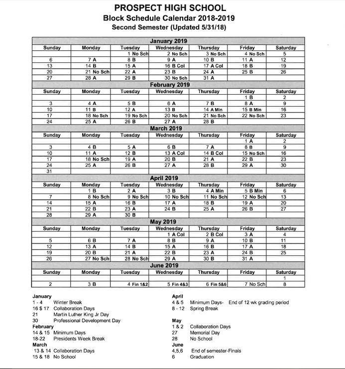 A/B Calendar – About Us – Prospect High School Within Delaware State University Winter Semester Dates