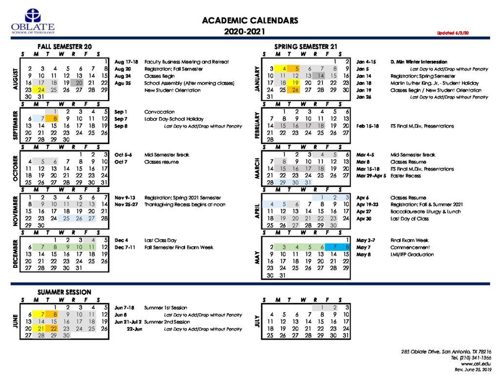 Academic Calendar 2020 2021 Update 6 3 20 – Oblate Regarding Uri Academic Calendar 2021 2020