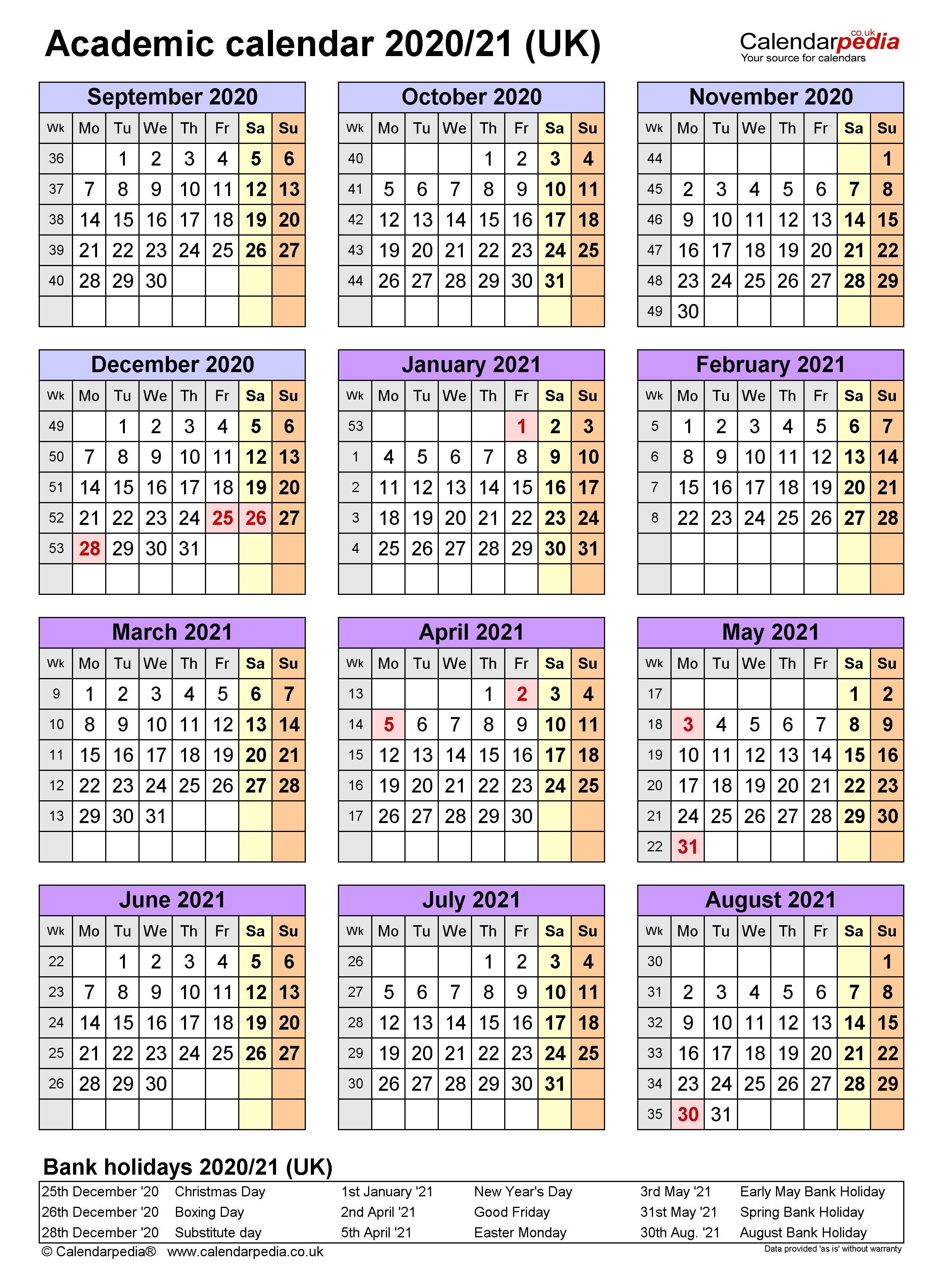 Academic Calendars 2020/21 Uk – Free Printable Word Templates Intended For Uri Academic Calendar 2021 2020