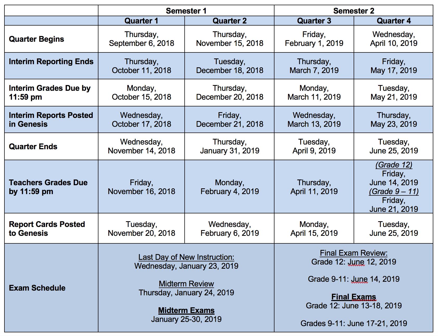 Academic Grading Calendar – Montclair High School Inside Montclair State Academic Calendar