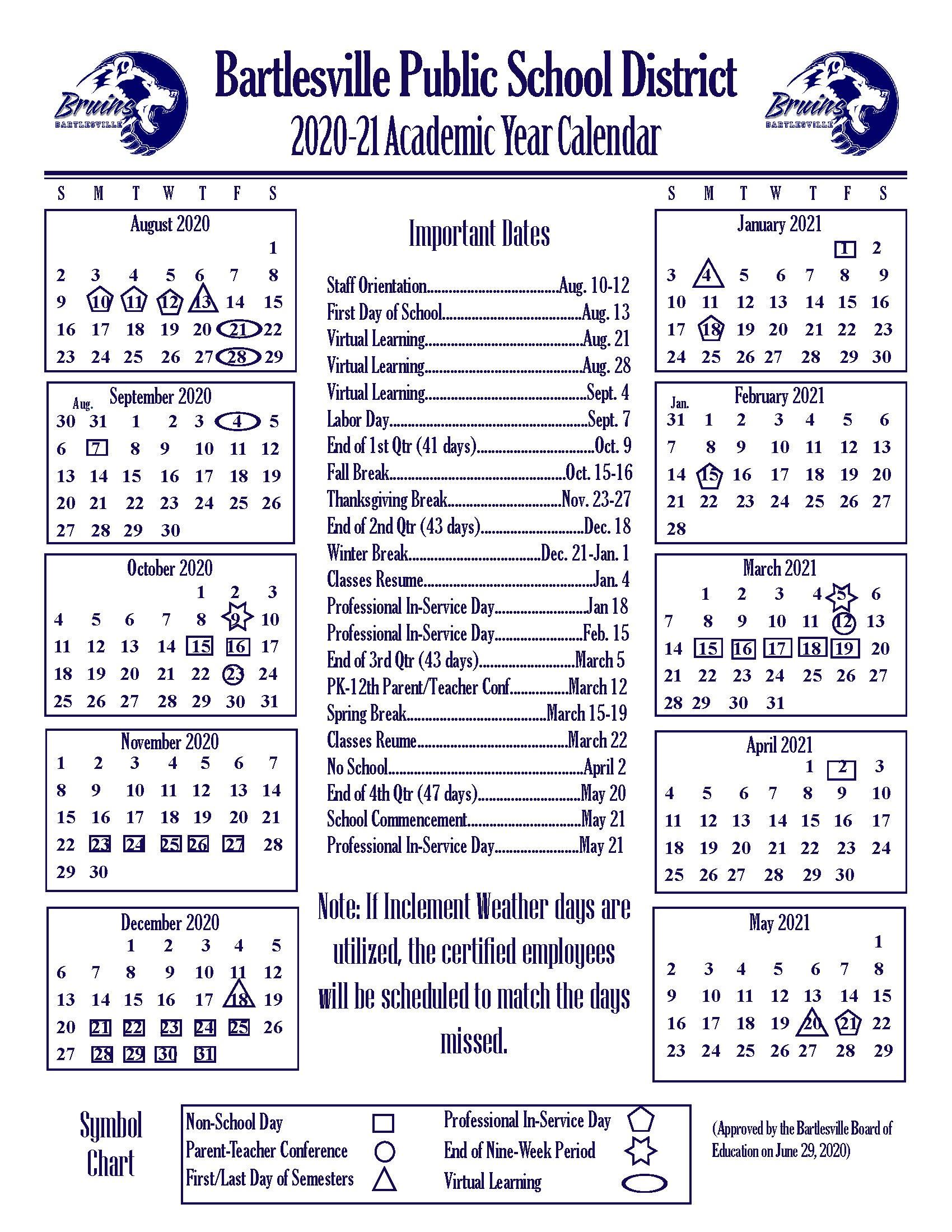Academic Year Calendars – Bartlesville Public Schools Intended For Jersey City Public School Calendar 2021 2020