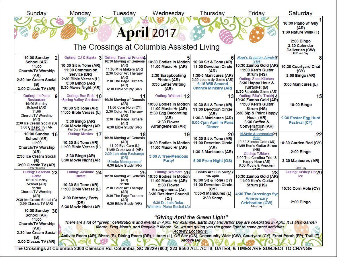 Active Living Activity Calendar April 2017 | April In Assisted Living Calendar Template