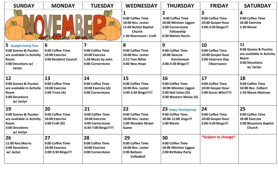 Activity Calendar - November 2017 - Chase City Health In Uwyo Long Tern Calendar