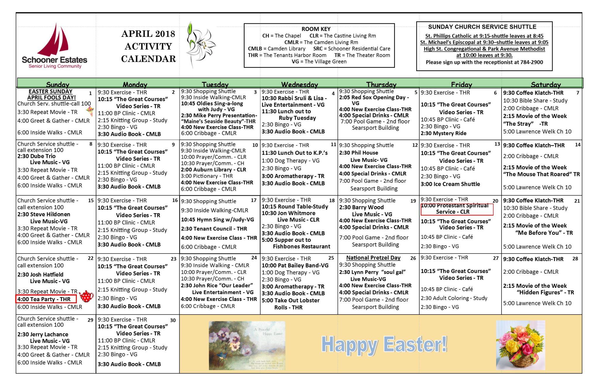 Activity Calendars Inside March Assisted Living Calendar Activities