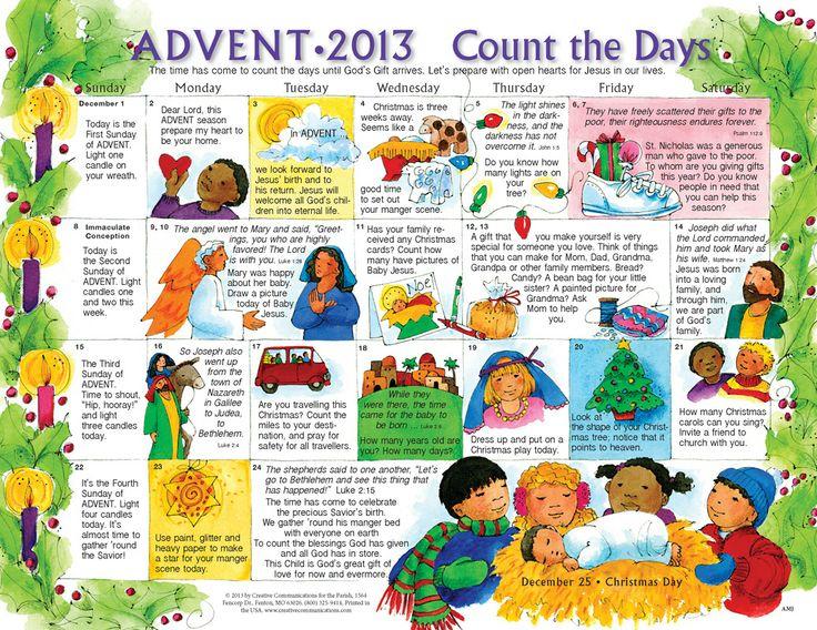 Advent Calendar 2013 To Print For Kids | 2013 Advent For Catholic Saint Of The Day Calendar