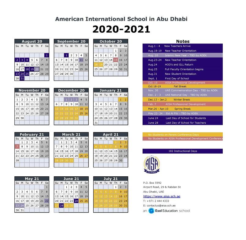 American International School In Abu Dhabi: Academic In Girne Amerikan University Academic Claendar 2021
