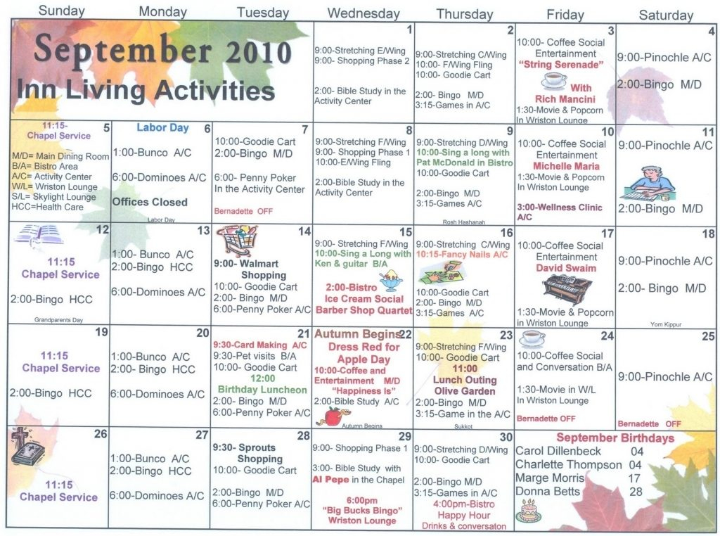 Assisted Living Activity Calendar Template | Calendar For March Assisted Living Calendar Activities