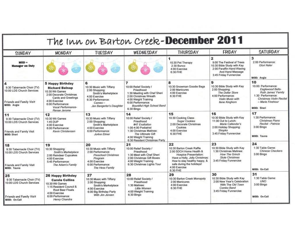 Assisted Living Activity Calendar Template | Calendar Pertaining To Actievies Calendar For Assisted Living Teplete