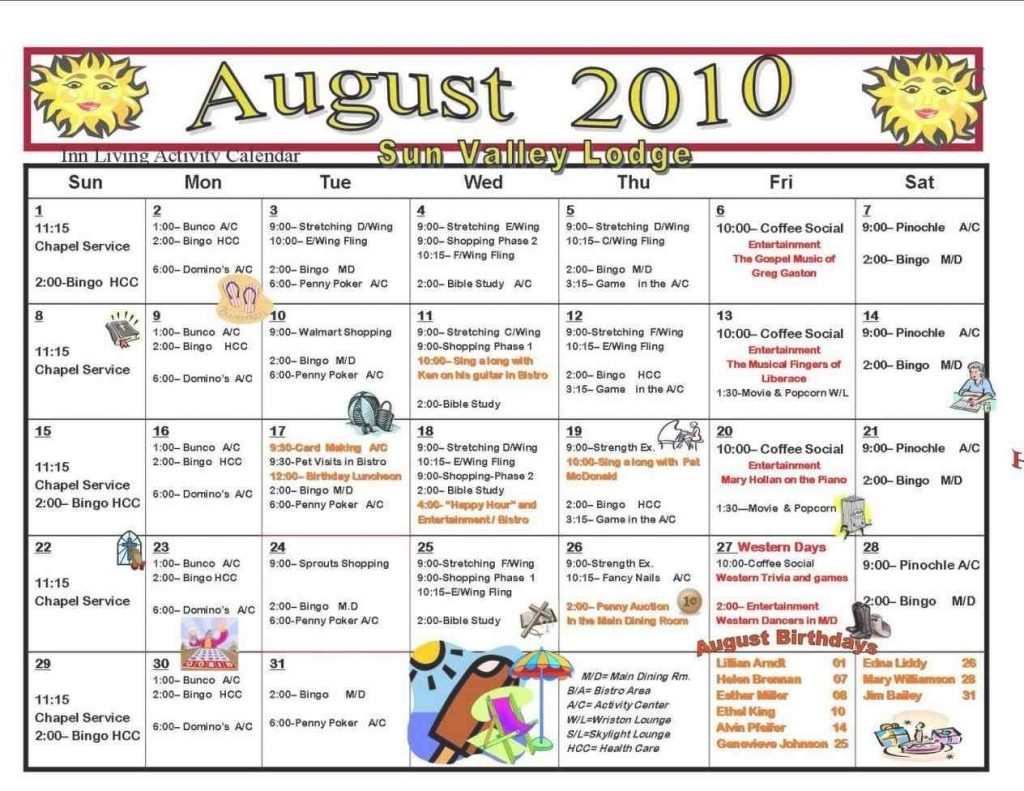 Assisted Living Activity Calendar Template | Calendar Within Assisted Living Activities Calendar Ideas